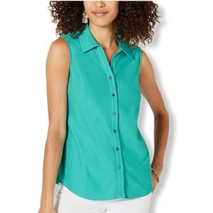 Charter Club Collar Sleeveless Button Down Top